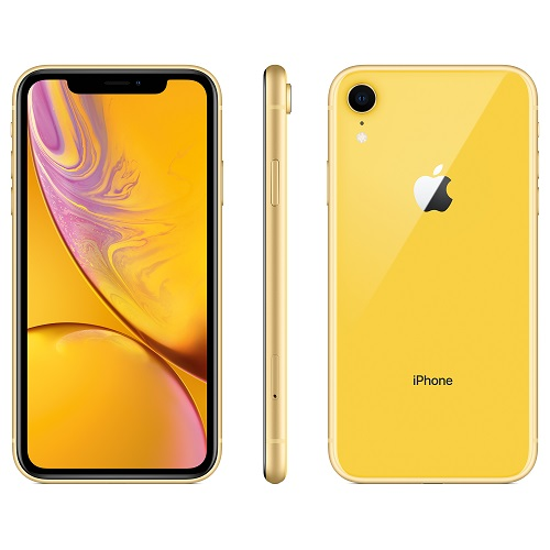 Apple iPhone XR 128GB Yellow front and back view